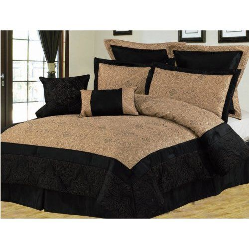 black and gold bedroom 8pcs queen black and gold bedding comforter set. Black Bedroom Furniture Sets. Home Design Ideas