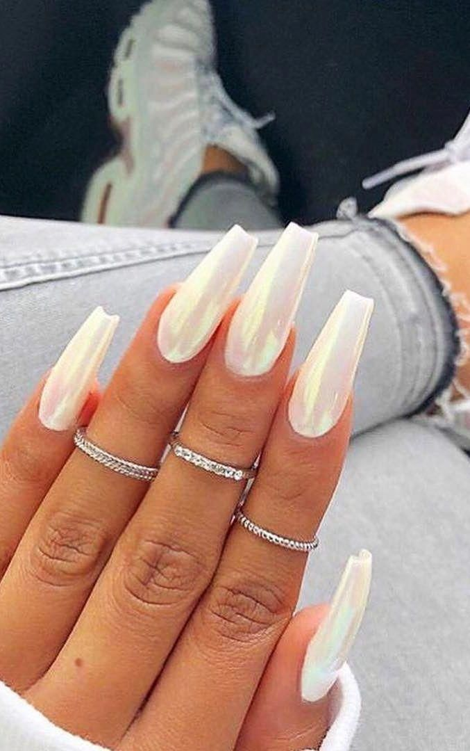 46 Best Nail Art Ideas For Your Hands Page 22 Of 46 In 2020 White Acrylic Nails Long White Nails Simple Fall Nails