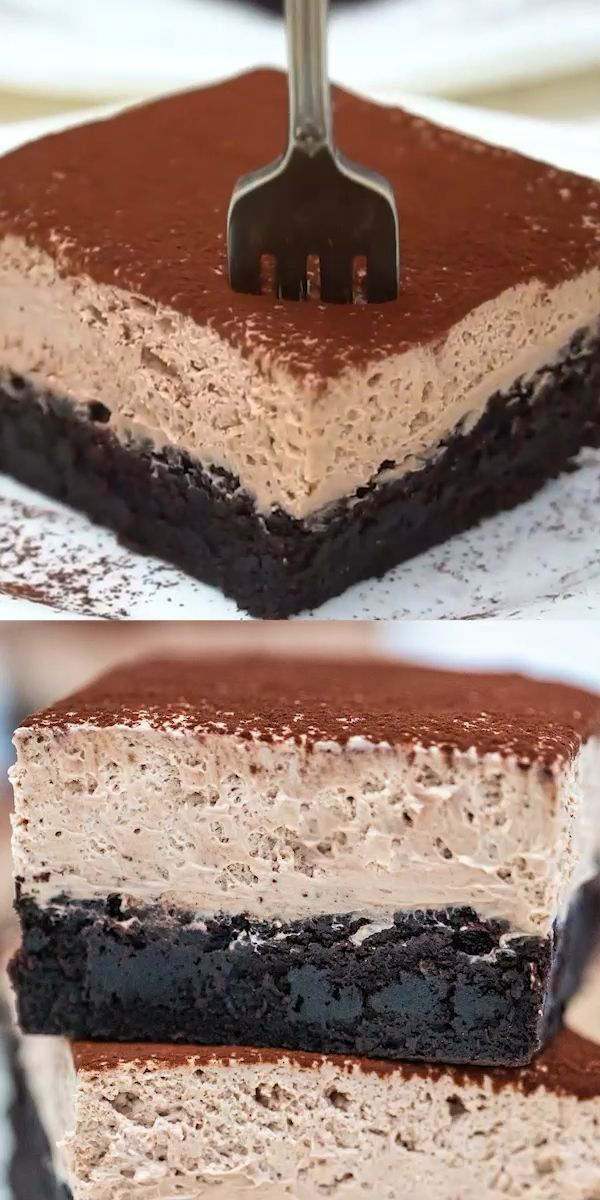 Chocolate Mousse Brownies or Best Brownies EVER! - Sweet and Savory Meals #sliceandbakecookieschristmas
