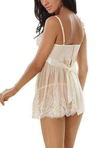 2b86dfe5f0f0 Ruzishun Women s Sexy Lingerie White Lace Nightwear Perspective Sleepwear  Underwear (XXL)