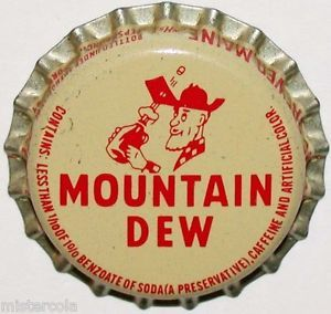 Vintage Soda Pop Bottle Cap Mountain Dew With Hillbilly
