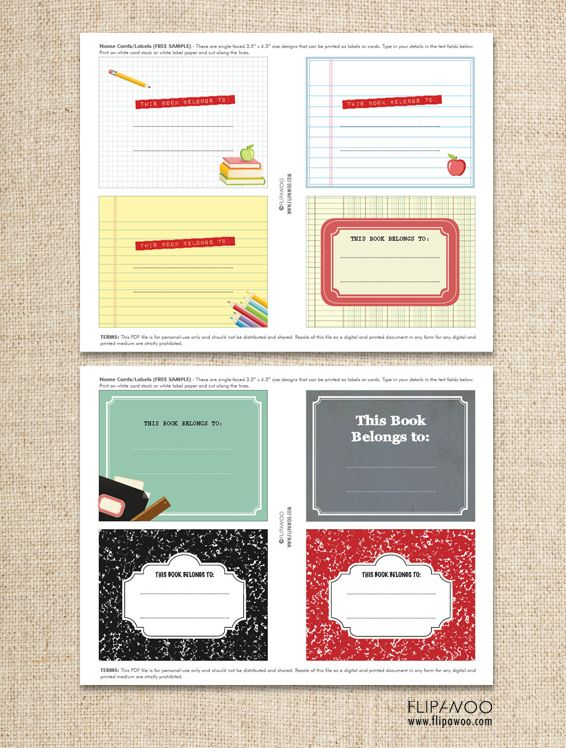 Back To School Book Labels Free Template  Personalized