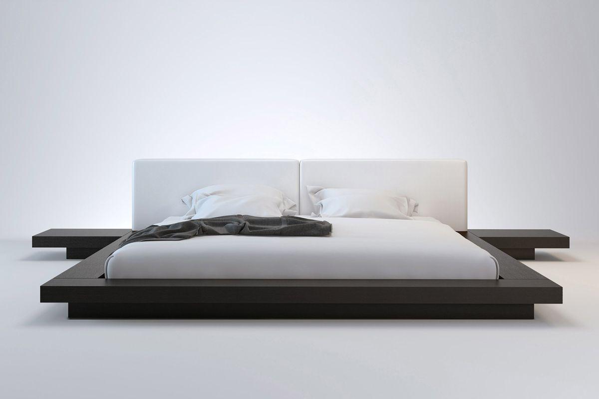 Asian Style King Size Low Profile Bed Frame With Side Tables Modern Bed Bed Frame Design Platform Bed