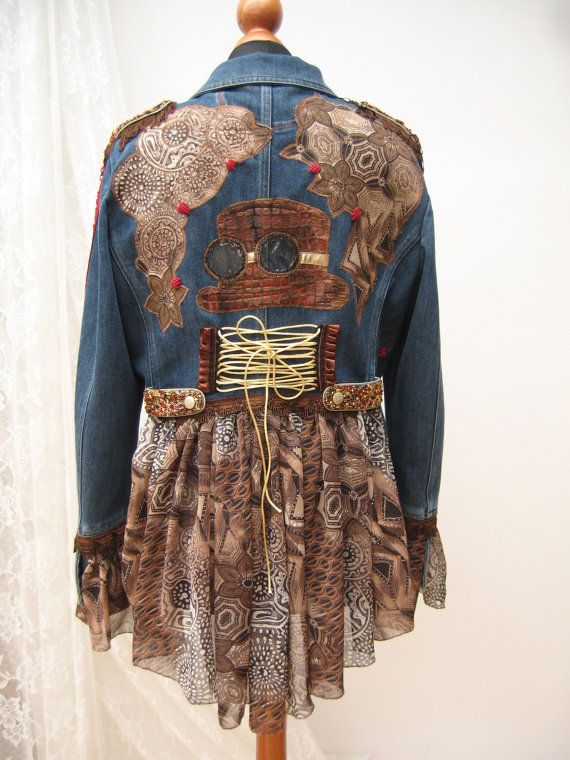 Steampunk inspired denim jacket, Denim reworked jacket,Upcycled jacket,, Wearable Art, Hand Embroidered, Art to wear, Upcycled Clothing #wearableart