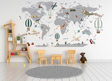 Airplane World Map Decal - Clear Vinyl Decal - Boys Room Decals - World Map Mural - Hot Air Balloon World Map - Custom Name Map - Animal world map #worldmapmural