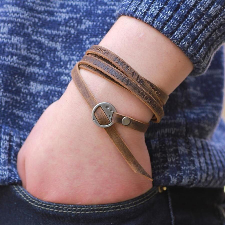 Mens Leather Vintage Bracelet Taupe