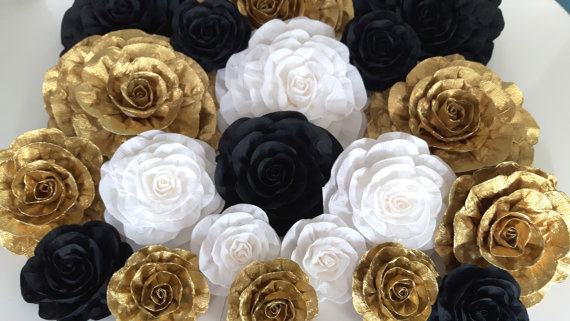 Black Gold White Large Paper Flower Wall Decor Backdrop Bridal