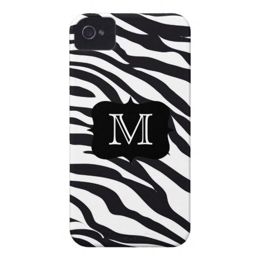 Black and White Zebra Stripes Mongrammed Case