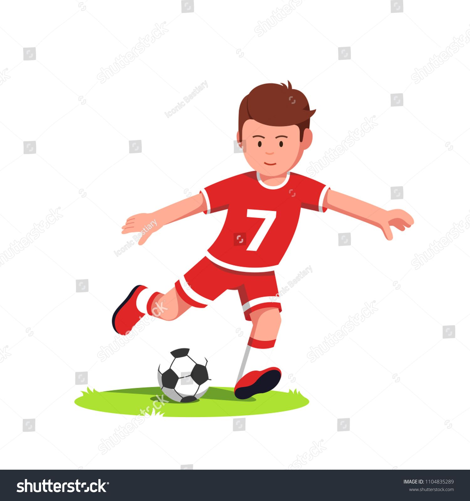 Teenage Soccer Player Boy Playing And Kicking Ball On The Run On Football Field Grass Young Soccer Player Boy Kid Wearin Boys Playing Soccer Players Kids Wear