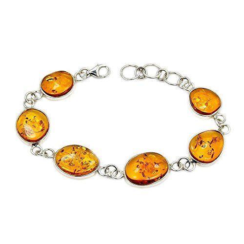 Amazing Sterling Silver Natural Honey Baltic Amber Bracelet