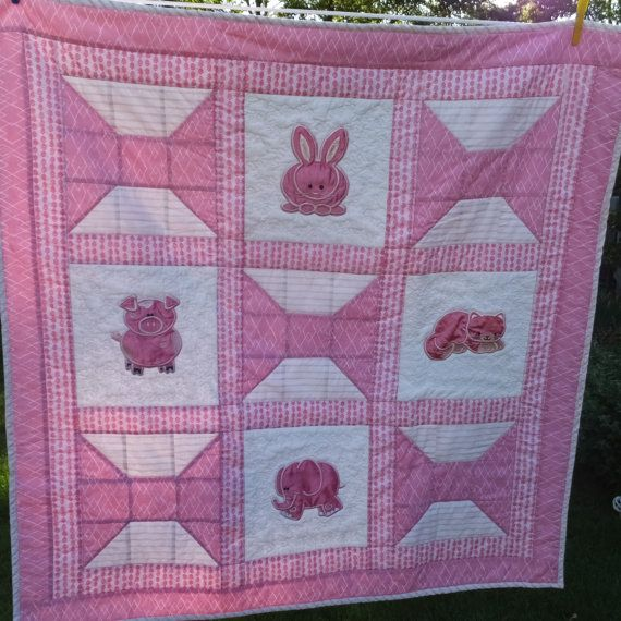Baby Girl Quilt - Homemade Patchwork Quilts, Newborn Baby Gift ... : patchwork quilt baby bedding - Adamdwight.com