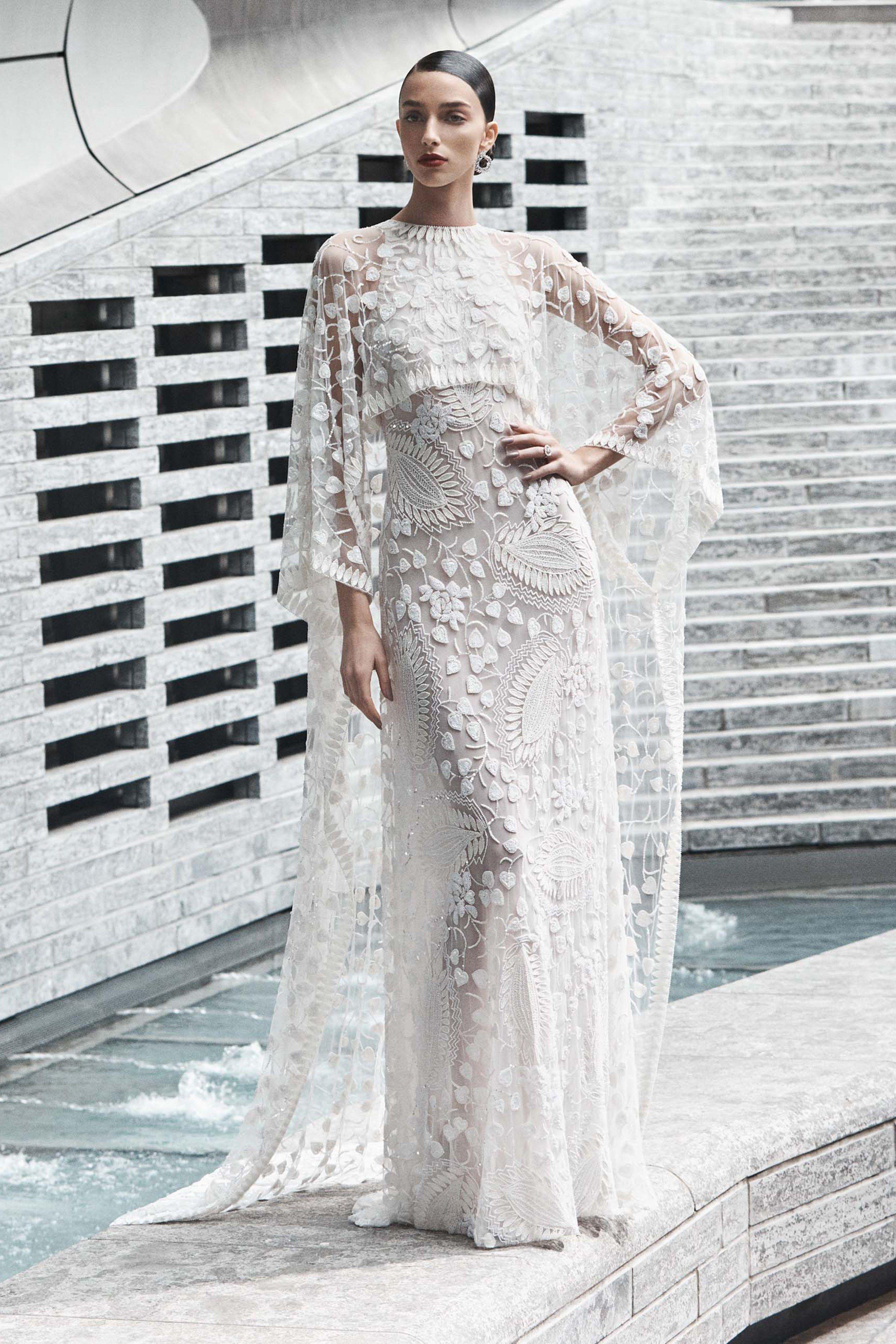 Lace dress in black august 2019 Naeem Khan Bridal Fall  Fashion Show  wedding dresses