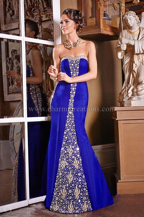 Reception Dresses Luxurious Royal Blue Velvet Vintage Gown Perfect For A Fusion Wedding With