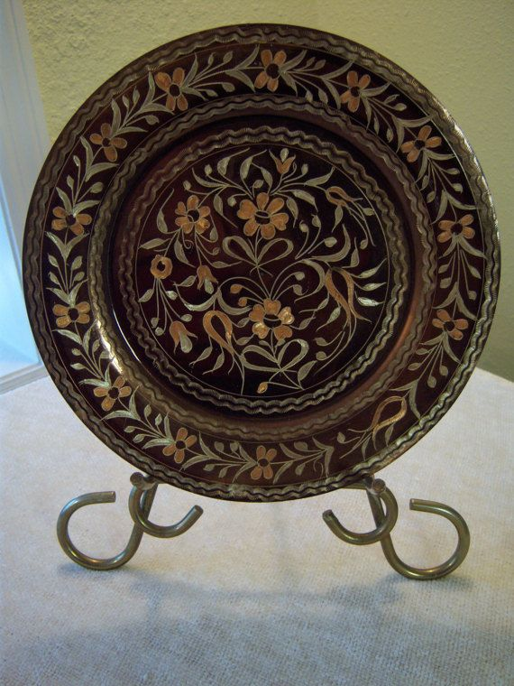 Copper Decorative Plate 9 Copper Plate Etched Copper Plate Metal Plate Stand Home Decor Vintage Copper Plate Stands Copper