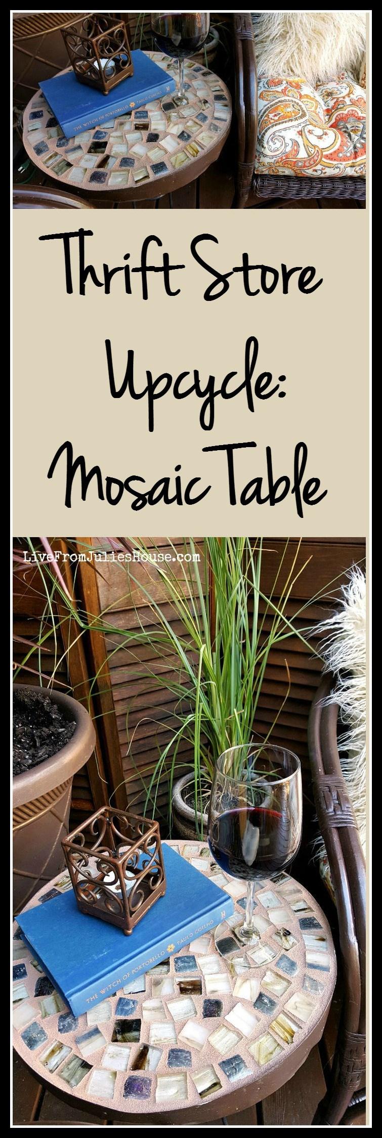 Thrift store challenge mosaic table juegos pinterest mesa de mosaico tiendas de segunda - Mesas mosaico segunda mano ...