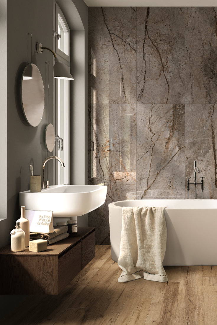 Rivestimenti Bagni Moderni Grigio piastrella rain forest grey marble 60x120 lappato gres