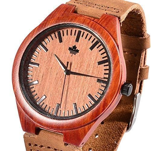Tamlee Red Sandalwood Fashion Casual Mens Quartz Watch with Genuine Leather New