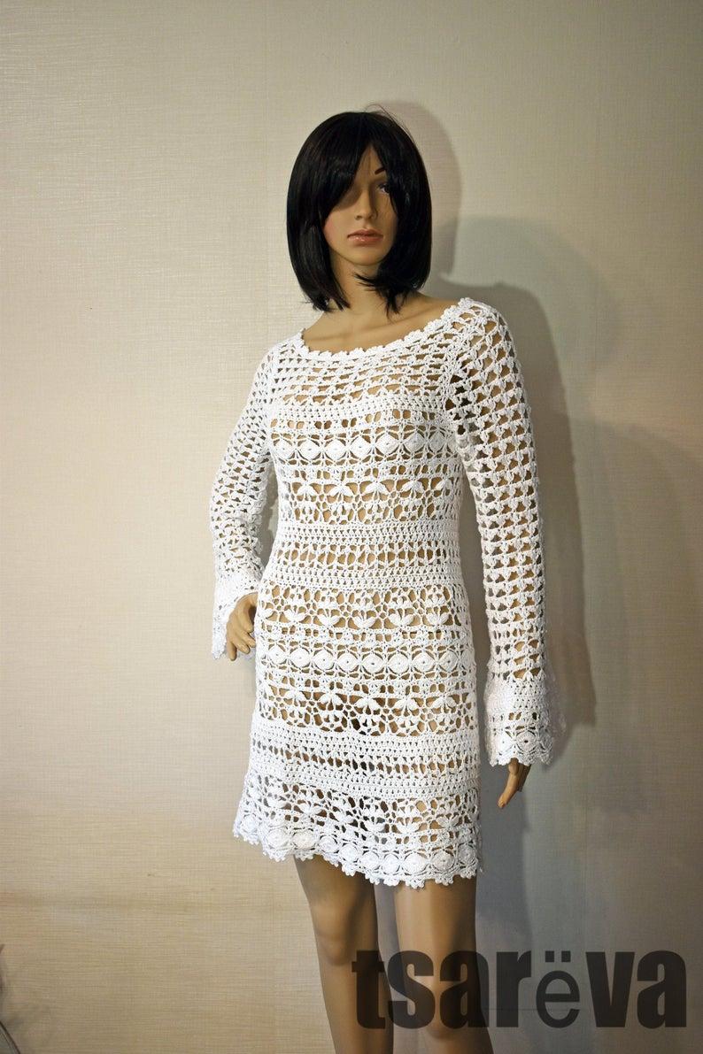 Crochet Dress Pria Handmade Women Summer White Cotton Crochet Etsy Crochet Dress Crochet Mini Dress White Crochet Mini Dress