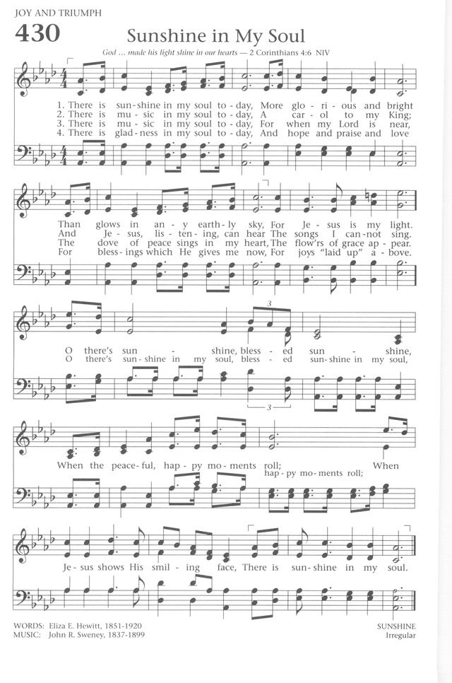 Baptist Hymnal 1991 430 There Is Sunshine In My Soul Today