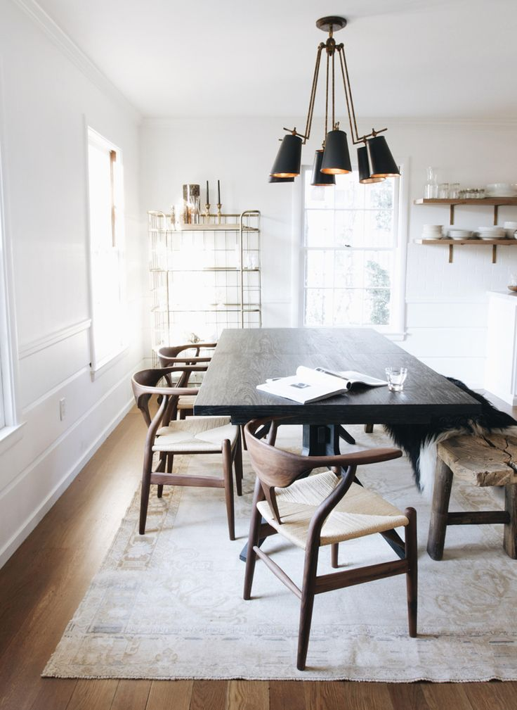 Attractive Image Result For Dark Floors, Light Dining Room Table, Black Chairs