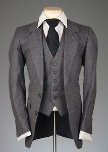 26f5fec7be364c Vtg Daniel Hechter Paris Charcoal Pinstripe 3 Piece Flannel Wool Vested Suit  36