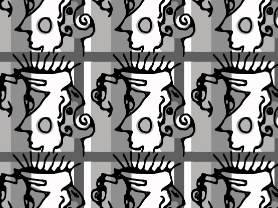 """Man & Yawning Dog"" by DarkBlueMe4Ever DarkBlueMe4Ever, abstract, black, dog, gray, man, modern, white"