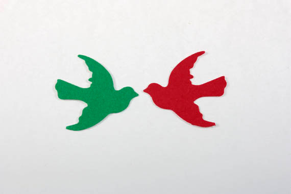 100 Red and Green Christmas Dove Confetti Bird by SammysCraftShop
