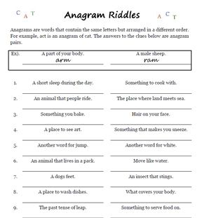 anagram riddle sample worksheet anagrams word games fun worksheets worksheets. Black Bedroom Furniture Sets. Home Design Ideas