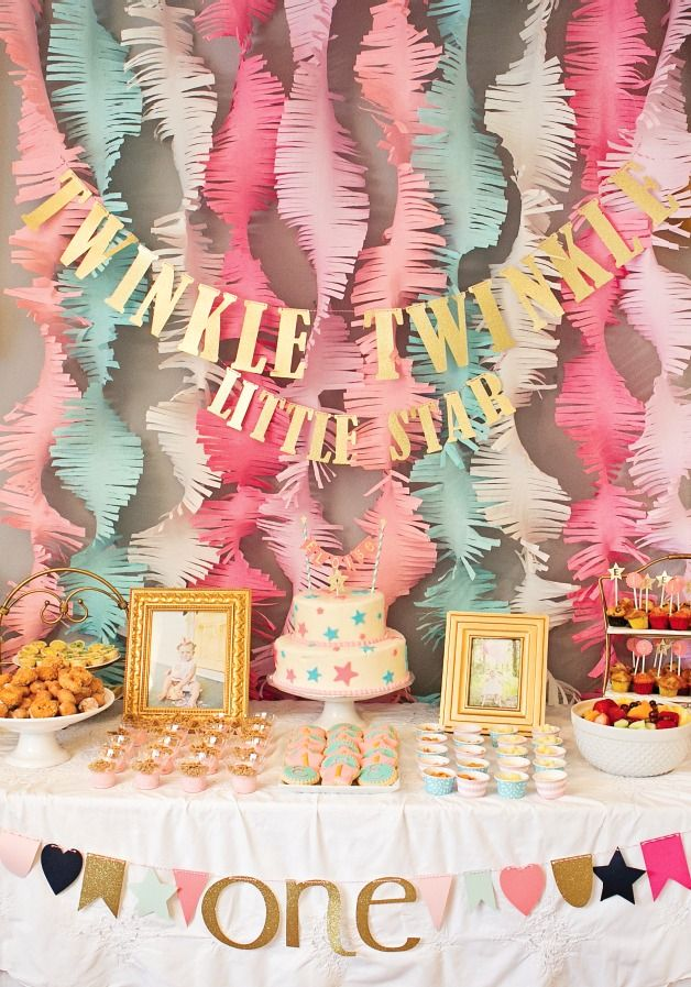 Pink And Gold Twinkle Little Star 1st Birthday Party Project Nursery Birthday Parties First Birthday Parties Birthday Decorations