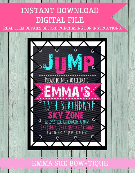 Trampoline Party Personalized Birthday Invitation Digital
