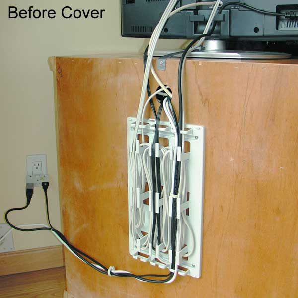 Messy behind tv stand cables without wiremate cord Extension cable organizer