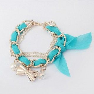 2014 New Fashion Lovely Simulated Pearl Bow Multilayer Lace Charm Bracelets Bangles Jewelry Items Blue