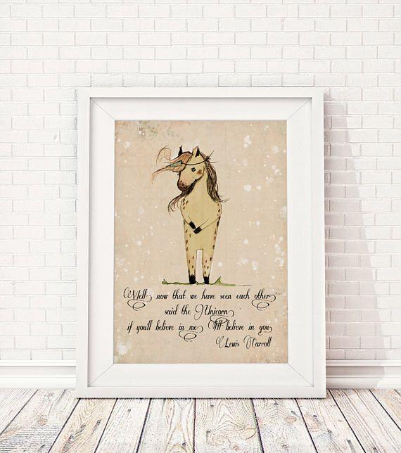 Nursery Unicorn Decor Alice In Wonderland Lewis Carroll Quote