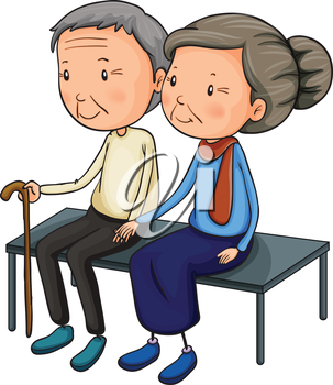 iclipart clip art illustration of older people sitting on a bench rh pinterest com au Old Couple Picnic Old Lady Clip Art