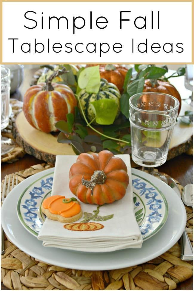 Simple Fall Tablescape Ideas Using Blue, White and Orange