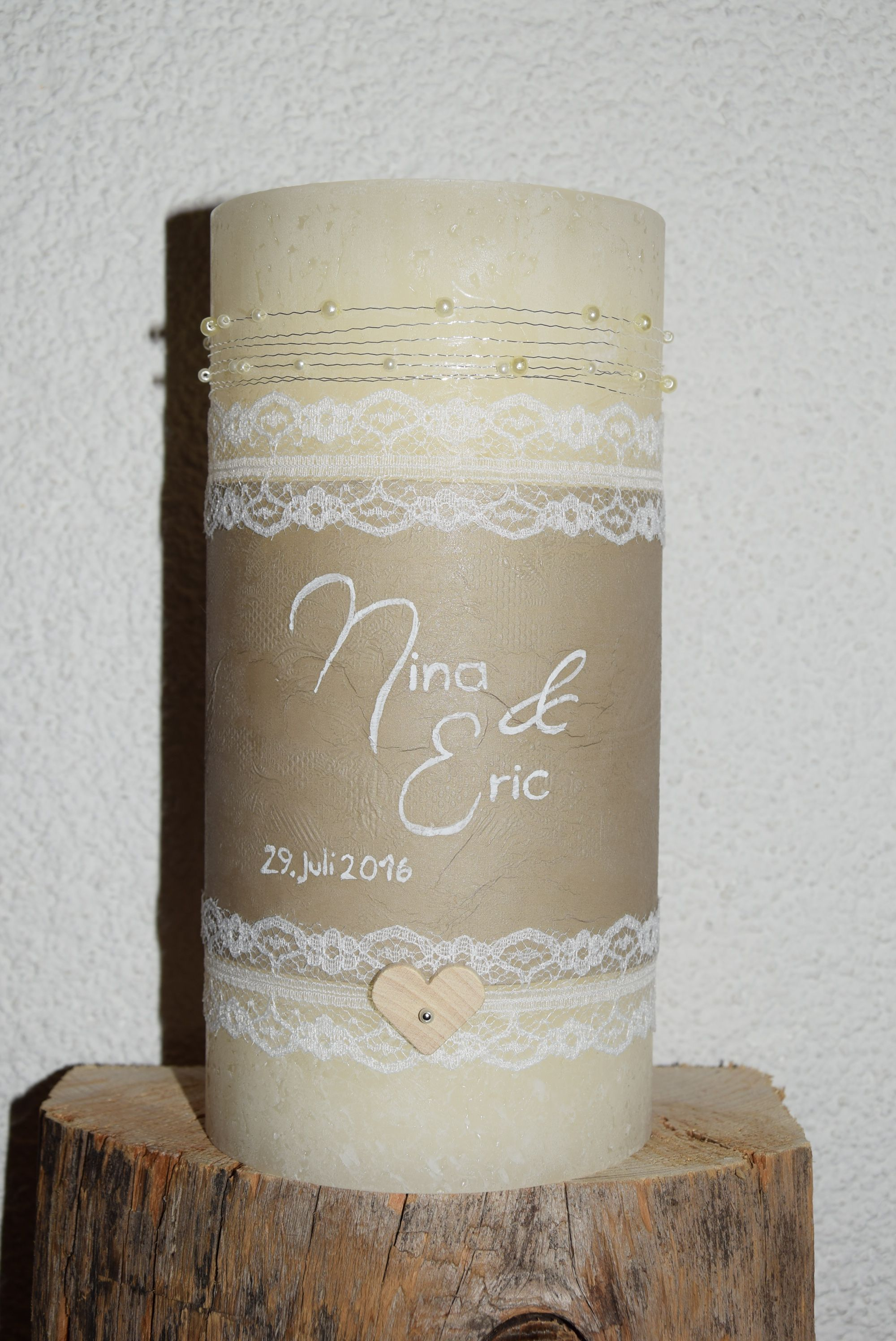 Hochzeitskerze Vintage Spitze Shabby Kerze Hochzeit Hochzeit Hochzeitskerze