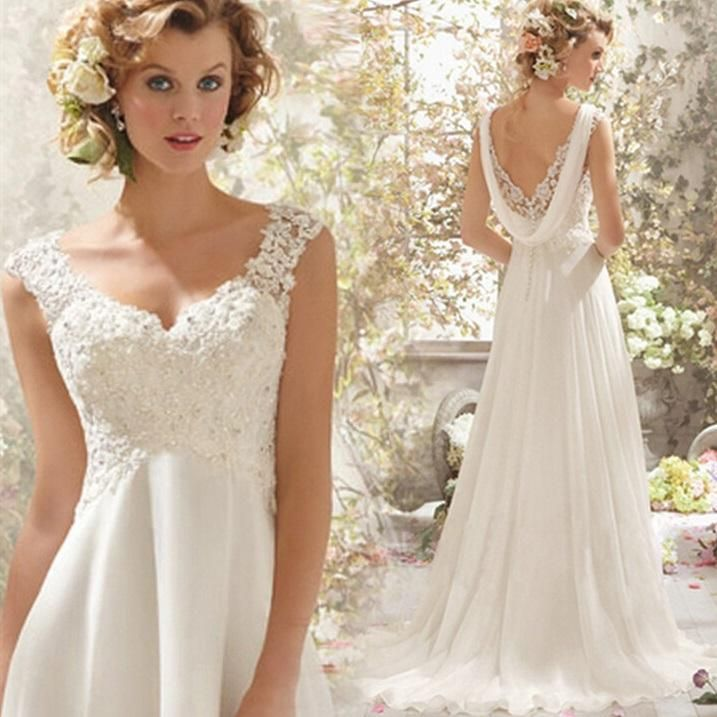 Elegant A Line Wedding Dresses With Applique Deep V Neck