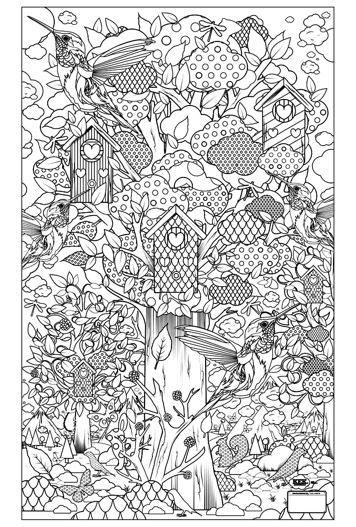 Free Coloring Pages Bird Houses. To print this free coloring page  adult birds guarden