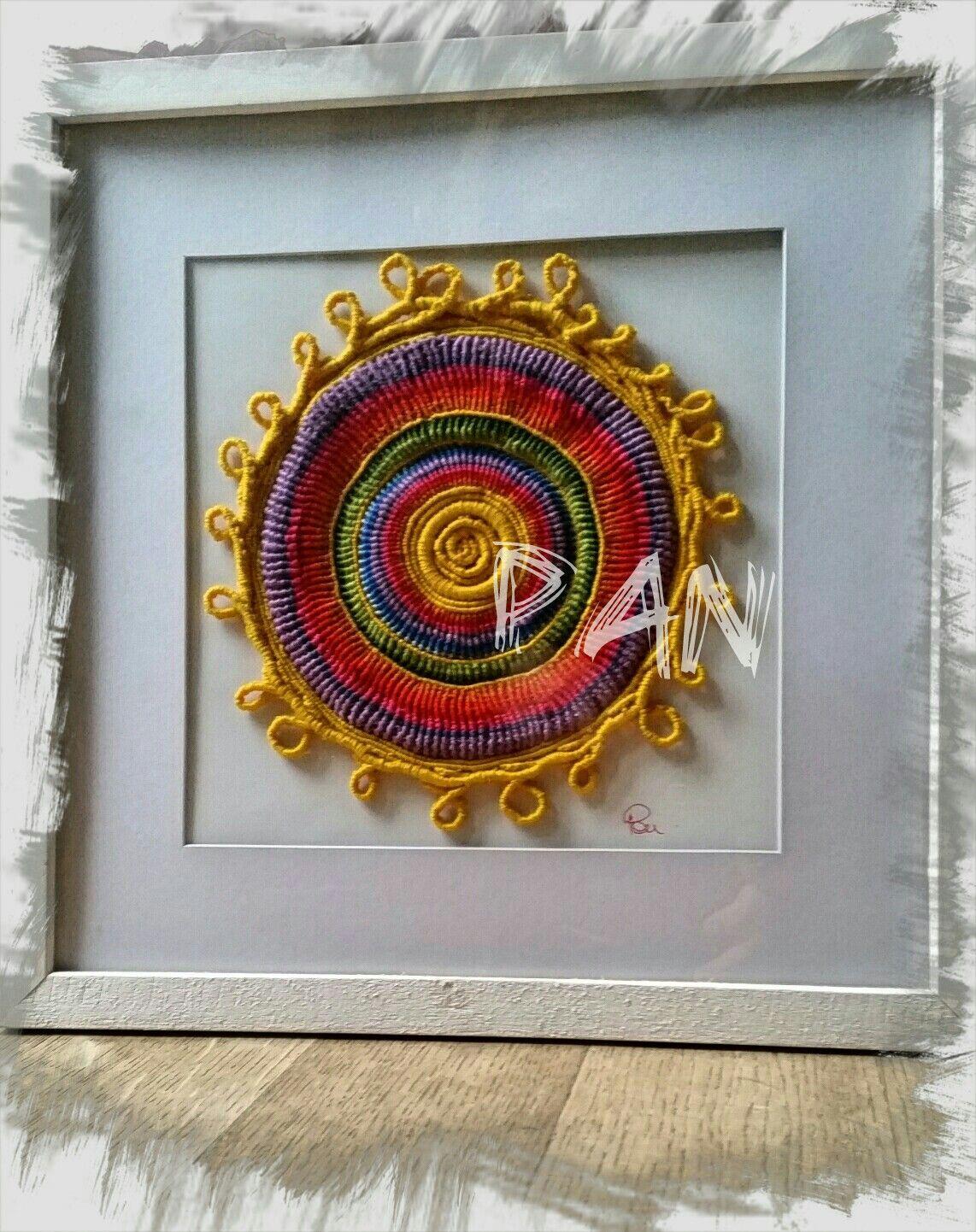 Mandala macramè giallo