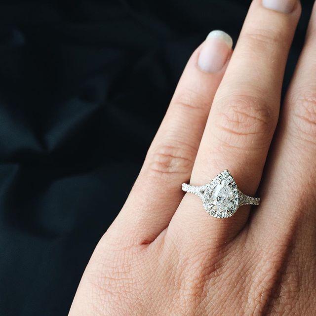 Lovely Pear Diamond Halo Engagement Ring With Subtle Split Shank It S Gorgeous Split Shank Engagement Rings Pear Diamond Rings Wedding Day Diamonds