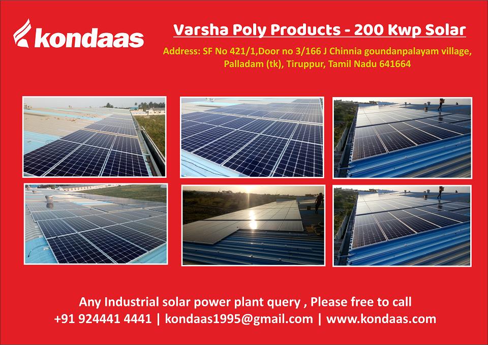 Kondaas Solar Coimbatore Tn Varsha Poly Product 200 Kwp Solar Power Plant Installation Site Address Sf No In 2020 Solar Power Plant Solar Solar Power