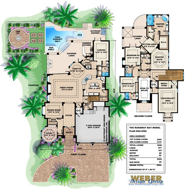 Mediterranean House Plan 2 Story Narrow Lot Beach Home Floor Plan Coastal House Plans Two Story House Plans Bay House