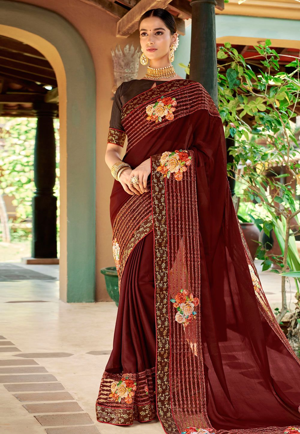 Buy Wine Georgette Festival Wear Saree 169666 With Blouse Online At Lowest Price From Vast Collection Traditional Sarees Georgette Sarees Indian Gowns Dresses