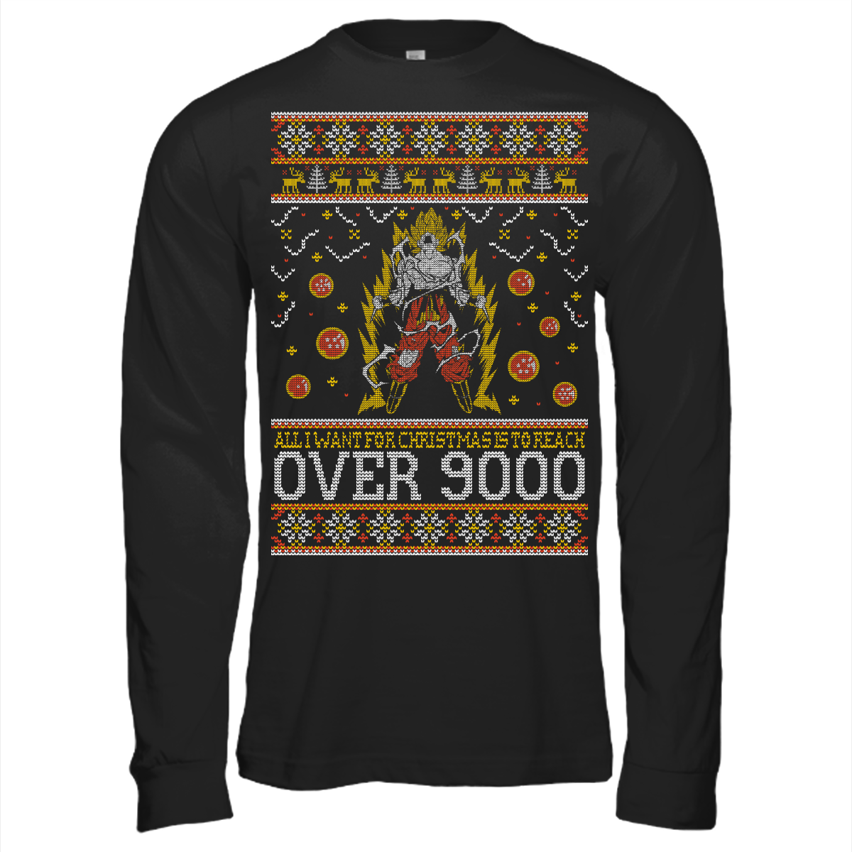 Dragon ball z all i want for christmas is to reach over for Over the top ugly christmas sweaters