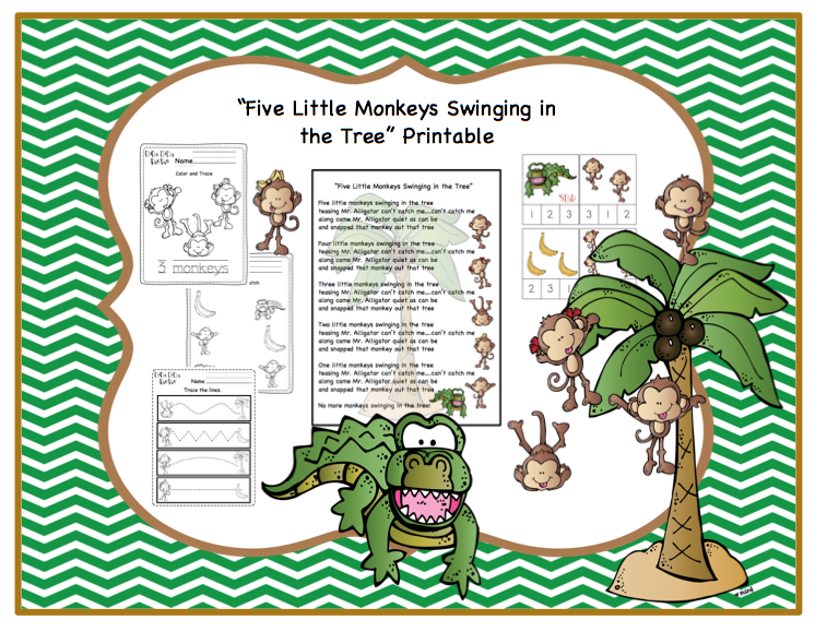 Preschool Printables Five Little Monkeys Swinging In A Tree Printable