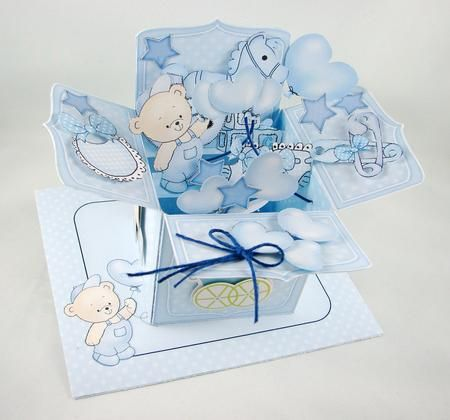 3d New Baby Boy Rubber Band Pop Up Box Card Cards Pop