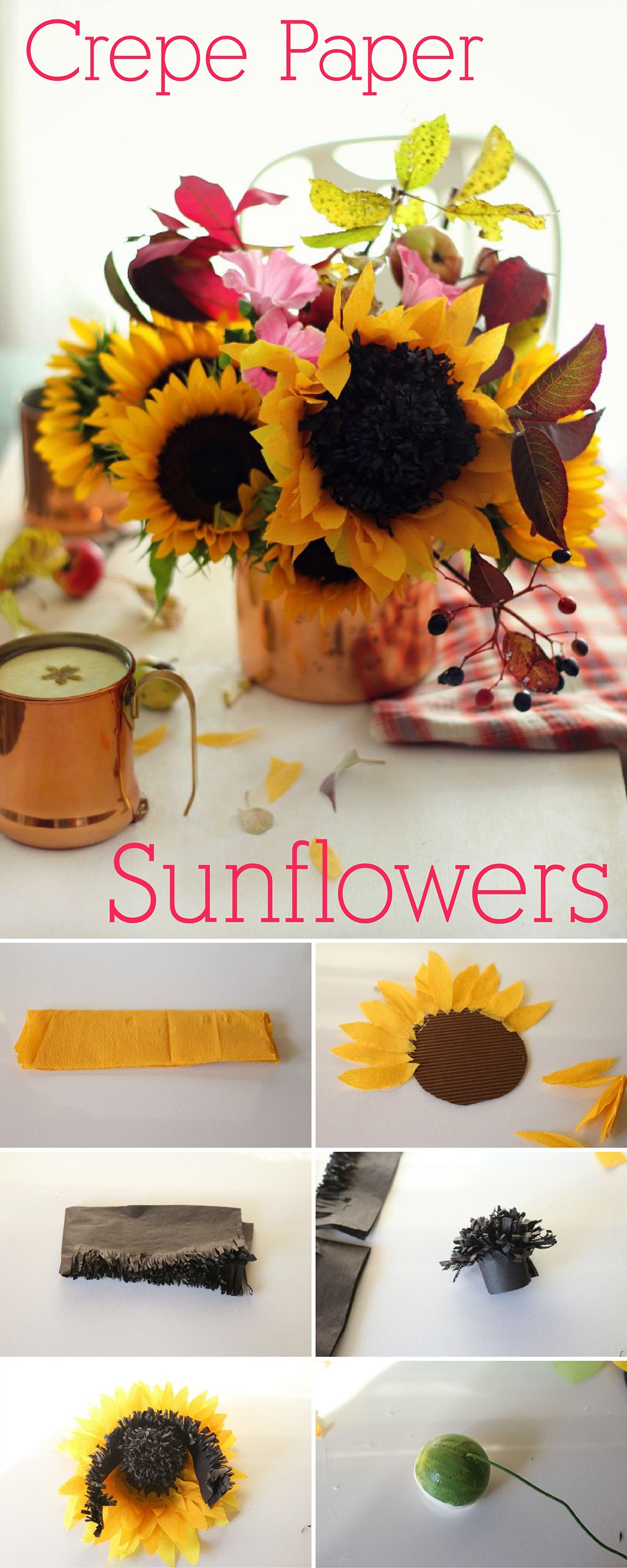 How to make paper sunflowers paper sunflowers crepe paper and flower dhlflorist Image collections