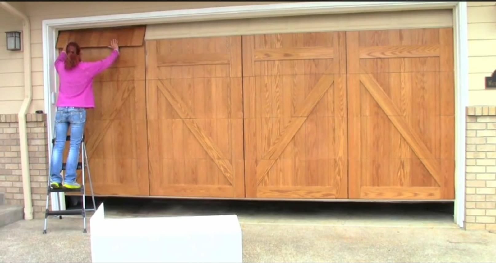 11 To Install The Top Panels Lower Your Garage Door All The Way Then Open Slightly Garage Doors Wood Garage Doors Metal Panels