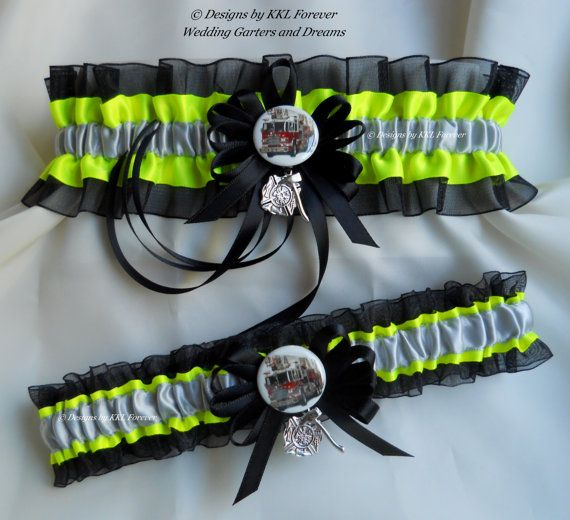 Firefighter Wedding Garter Set Maltese Cross Fire Truck