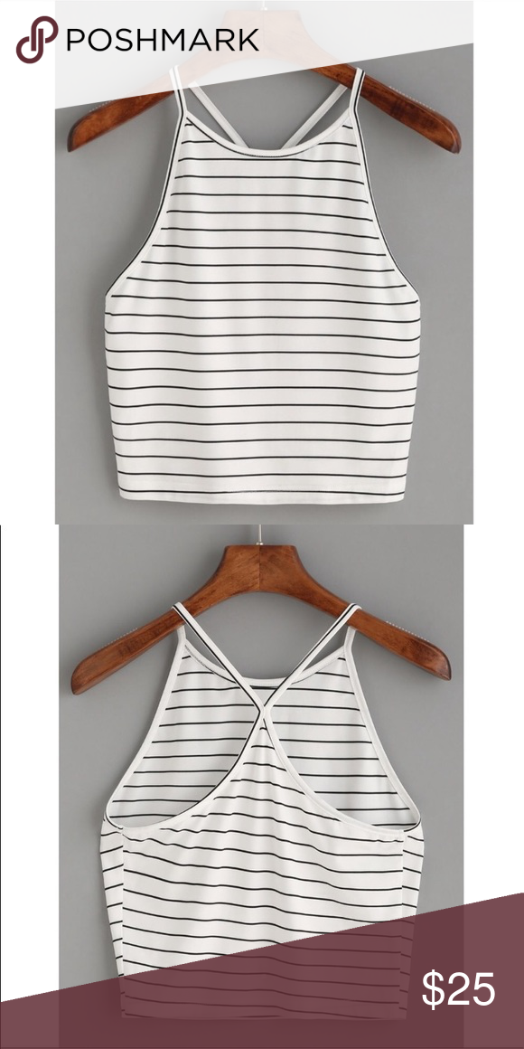 Striped Racerback Crop Top White and black striped cropped